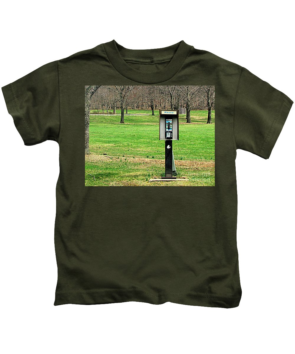 Phone Kids T-Shirt featuring the photograph If A Phone Rings In The Forest by Lori Pessin Lafargue