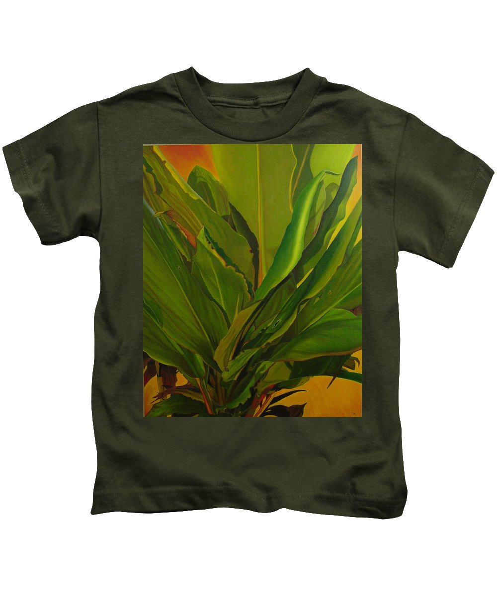 Plant Kids T-Shirt featuring the painting In Loving Memory Of Bobo by Thu Nguyen