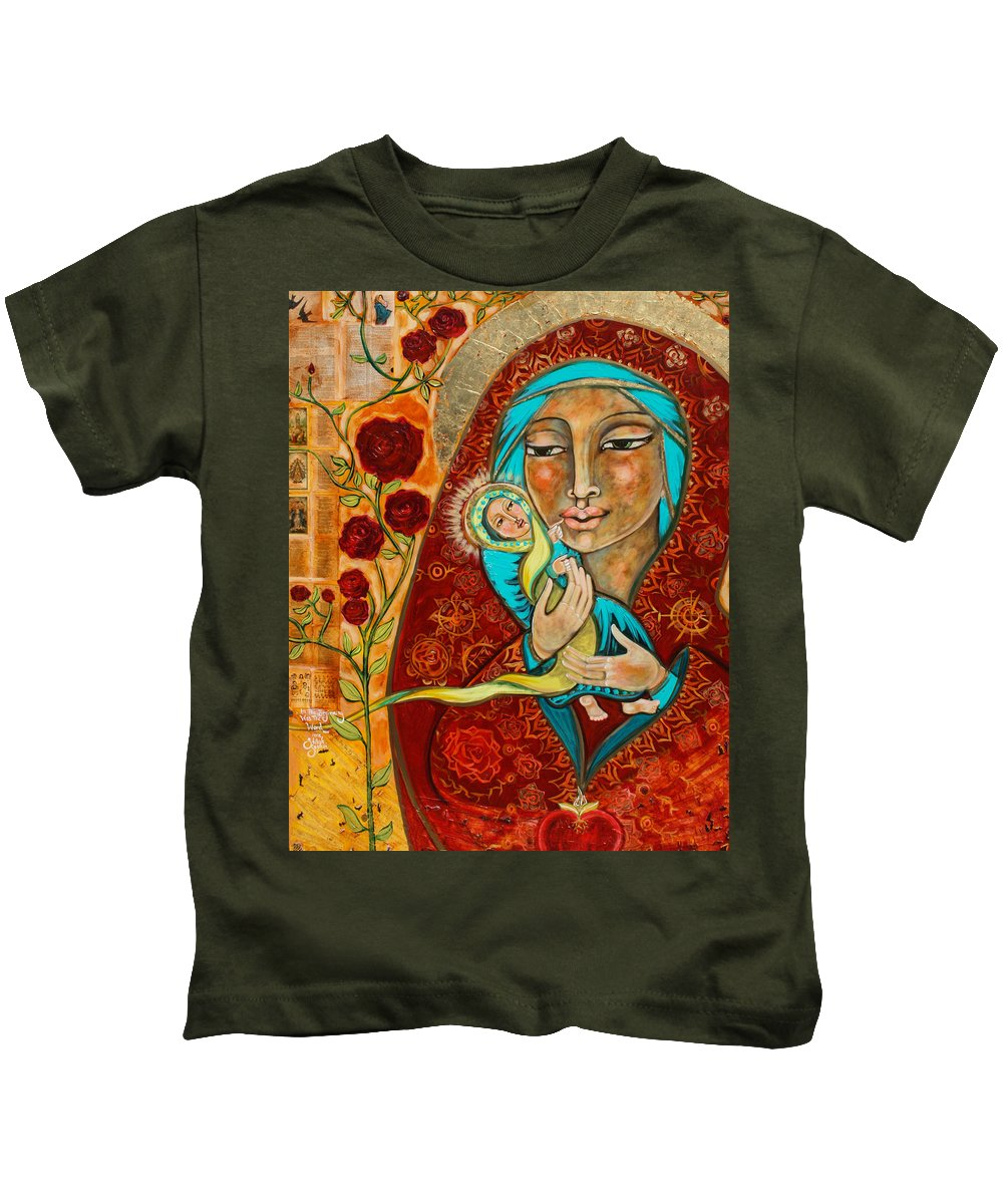 Shiloh Sophia Kids T-Shirt featuring the painting In The Beginning Was The Word by Shiloh Sophia McCloud