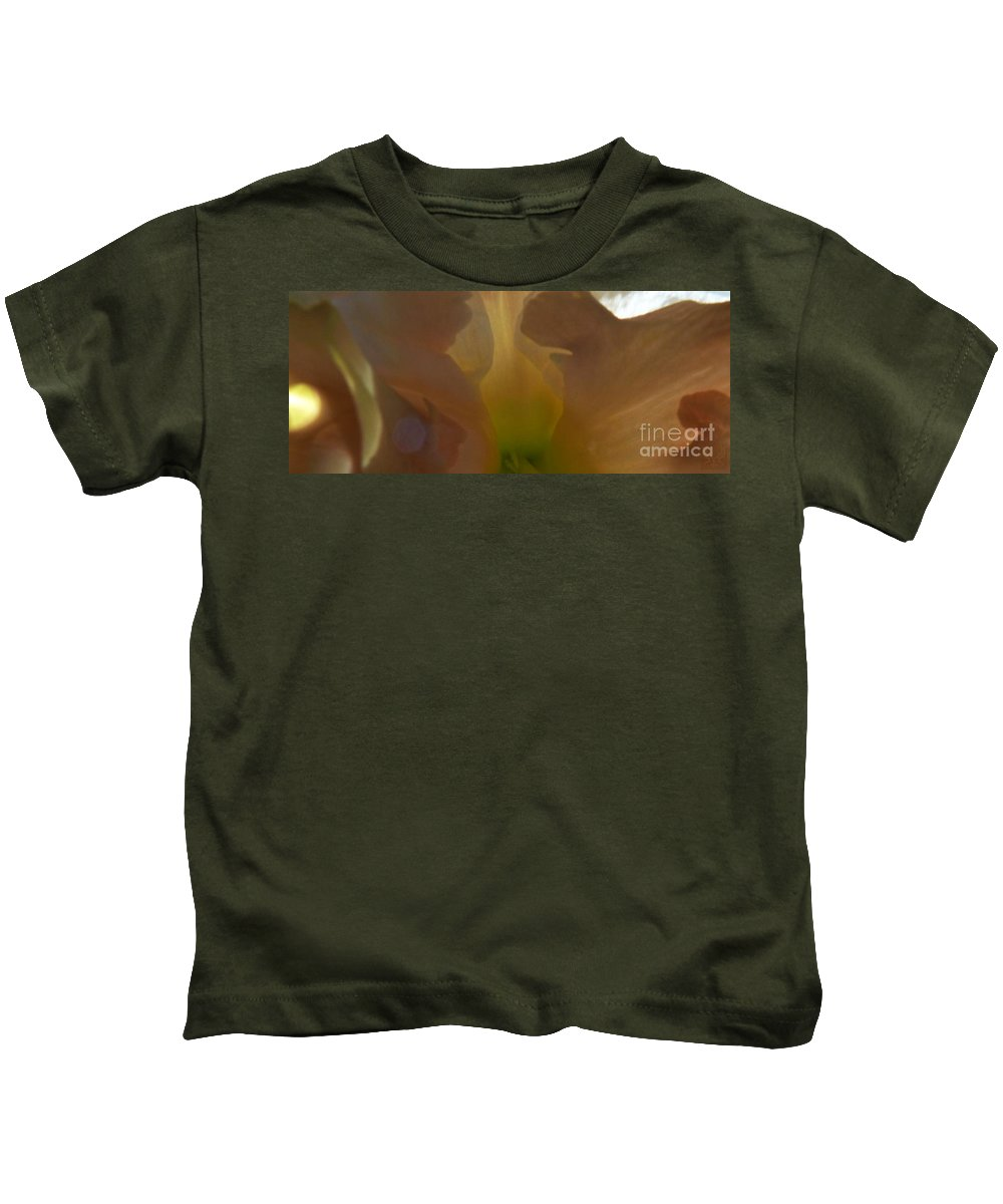 Peaceful Kids T-Shirt featuring the photograph Inside Peach by Dale Crum