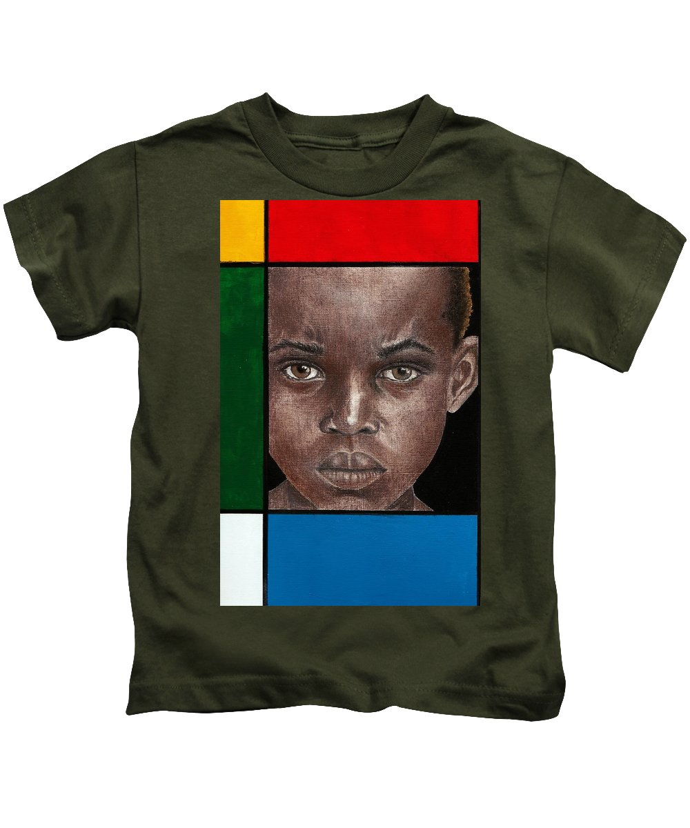 African American Artwork Kids T-Shirt featuring the mixed media Intense by Edith Peterson-Watson