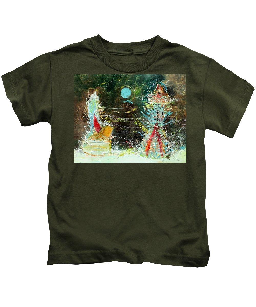 Interplay Kids T-Shirt featuring the painting Interplay by Fabrizio Cassetta