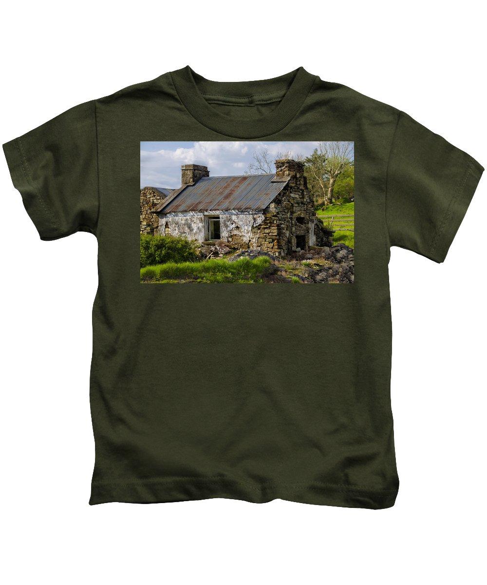 Irish Kids T-Shirt featuring the photograph Irish Cottage Ruins by Bill Cannon
