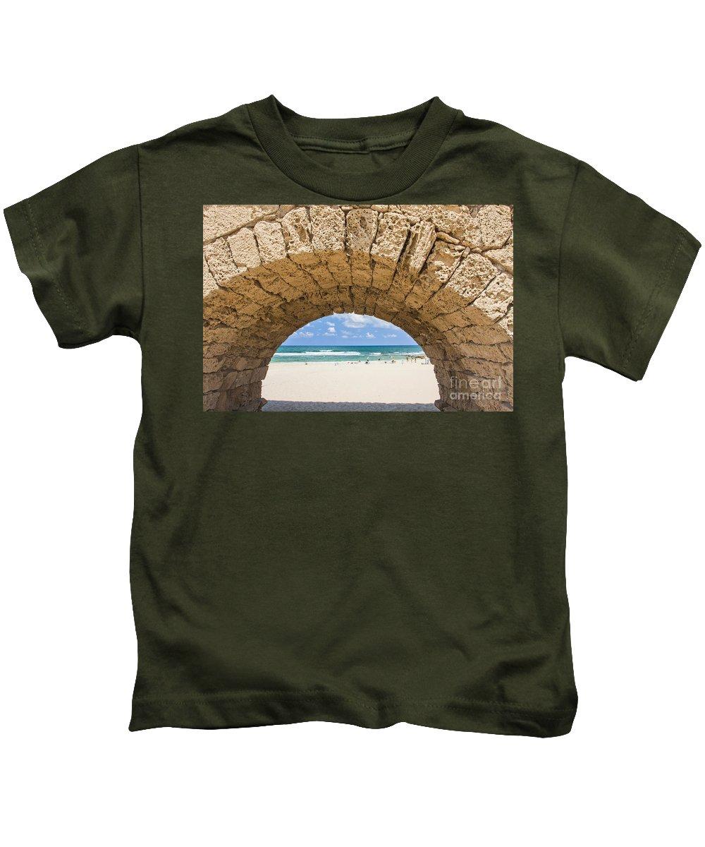 Roman Kids T-Shirt featuring the photograph Israel Caesarea Aqueduct by Eyal Bartov