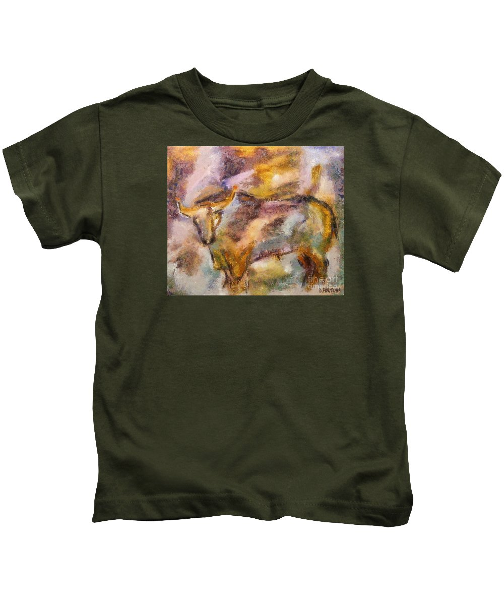 Bull Kids T-Shirt featuring the painting Istrian Bull - Boshkarin by Dragica Micki Fortuna