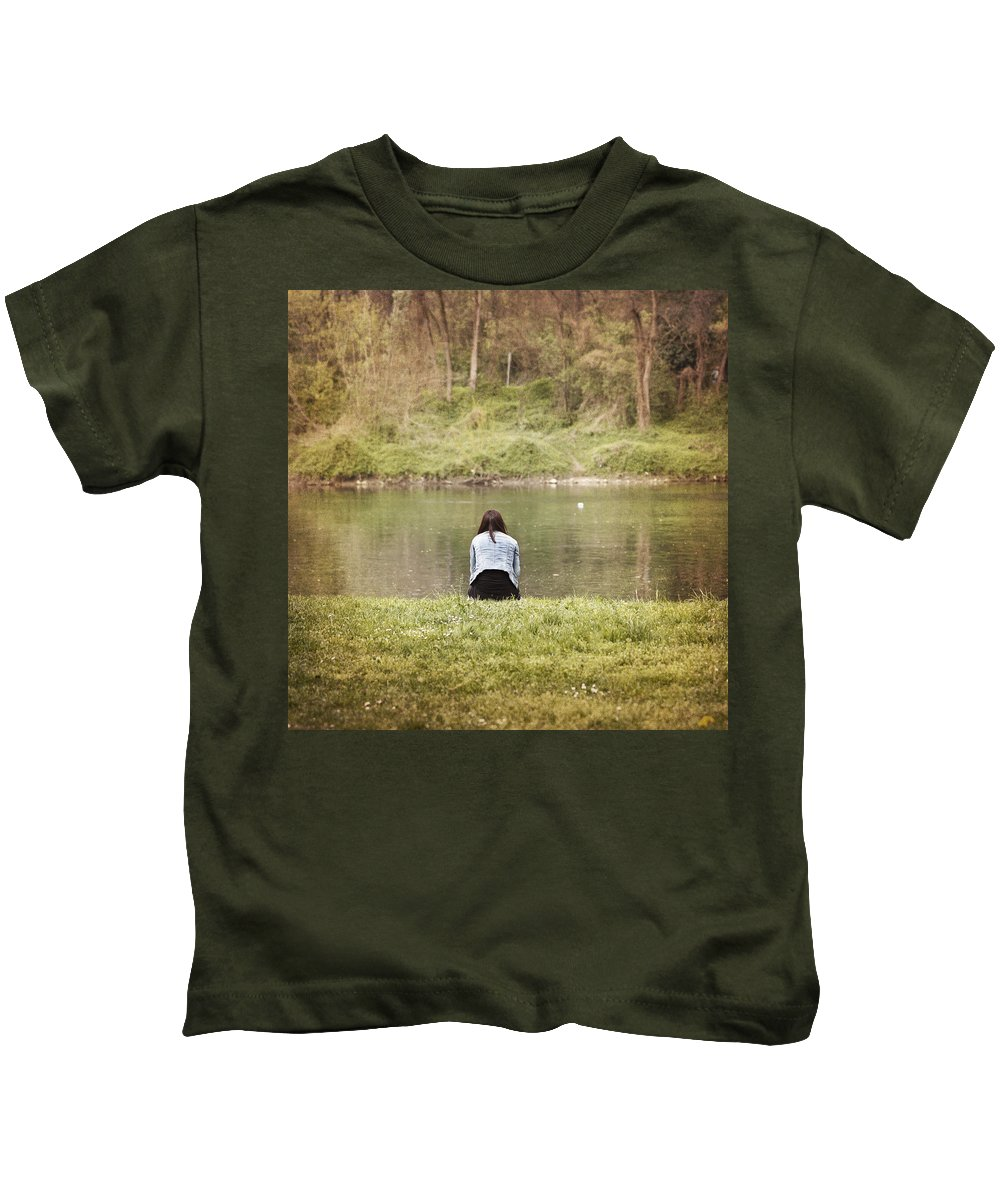 Woman Kids T-Shirt featuring the photograph It's Been A Hard Day by Alfio Finocchiaro