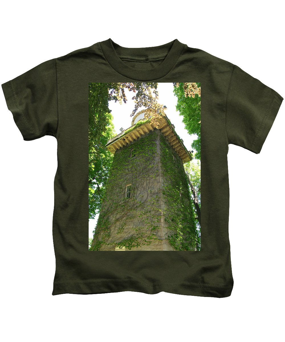 Watchtower Kids T-Shirt featuring the photograph Ivy Along The Watchtower by Neal Eslinger