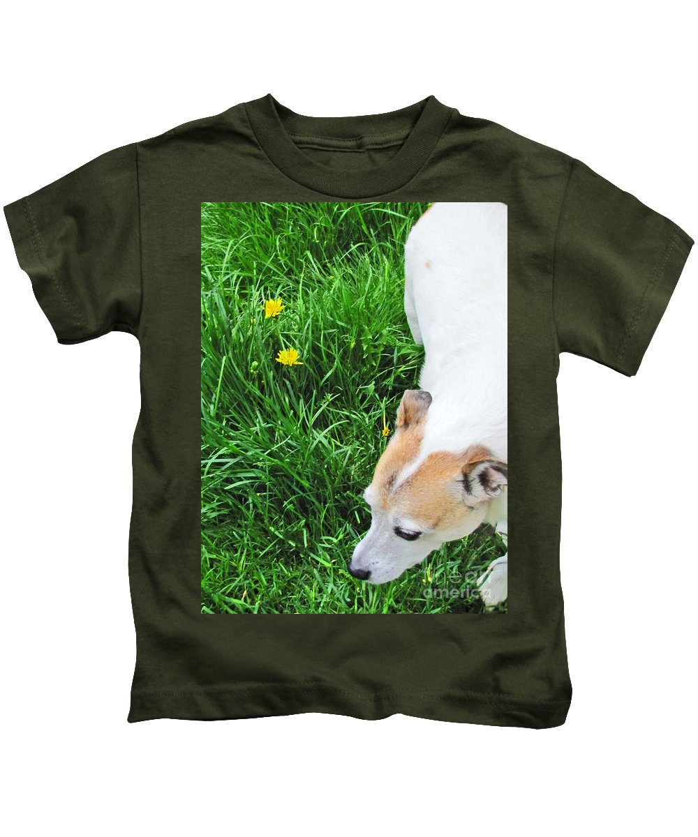 Dog Kids T-Shirt featuring the photograph Jack Russell Terrier by Minding My Visions by Adri and Ray