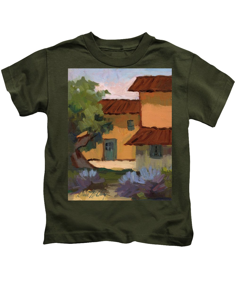 Jacques Kids T-Shirt featuring the painting Jacques Farm In Provence by Diane McClary