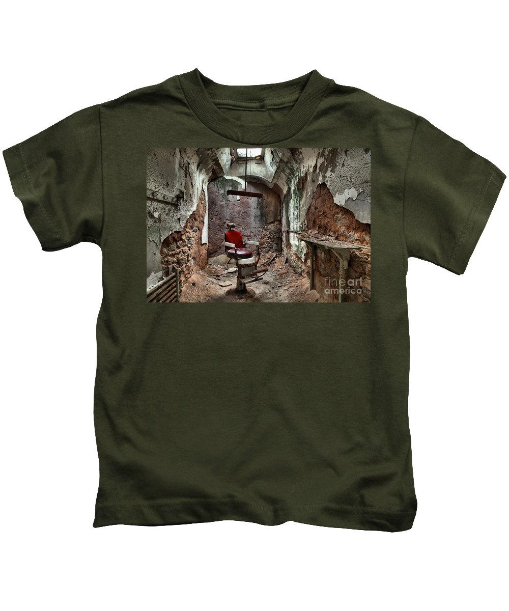Prison Kids T-Shirt featuring the photograph Jail Cell Barber by Adam Jewell