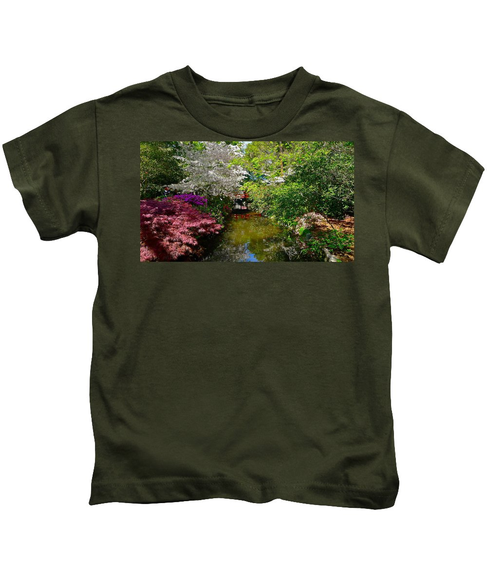 Garden Kids T-Shirt featuring the photograph Japanese Garden In Bloom by Denise Mazzocco