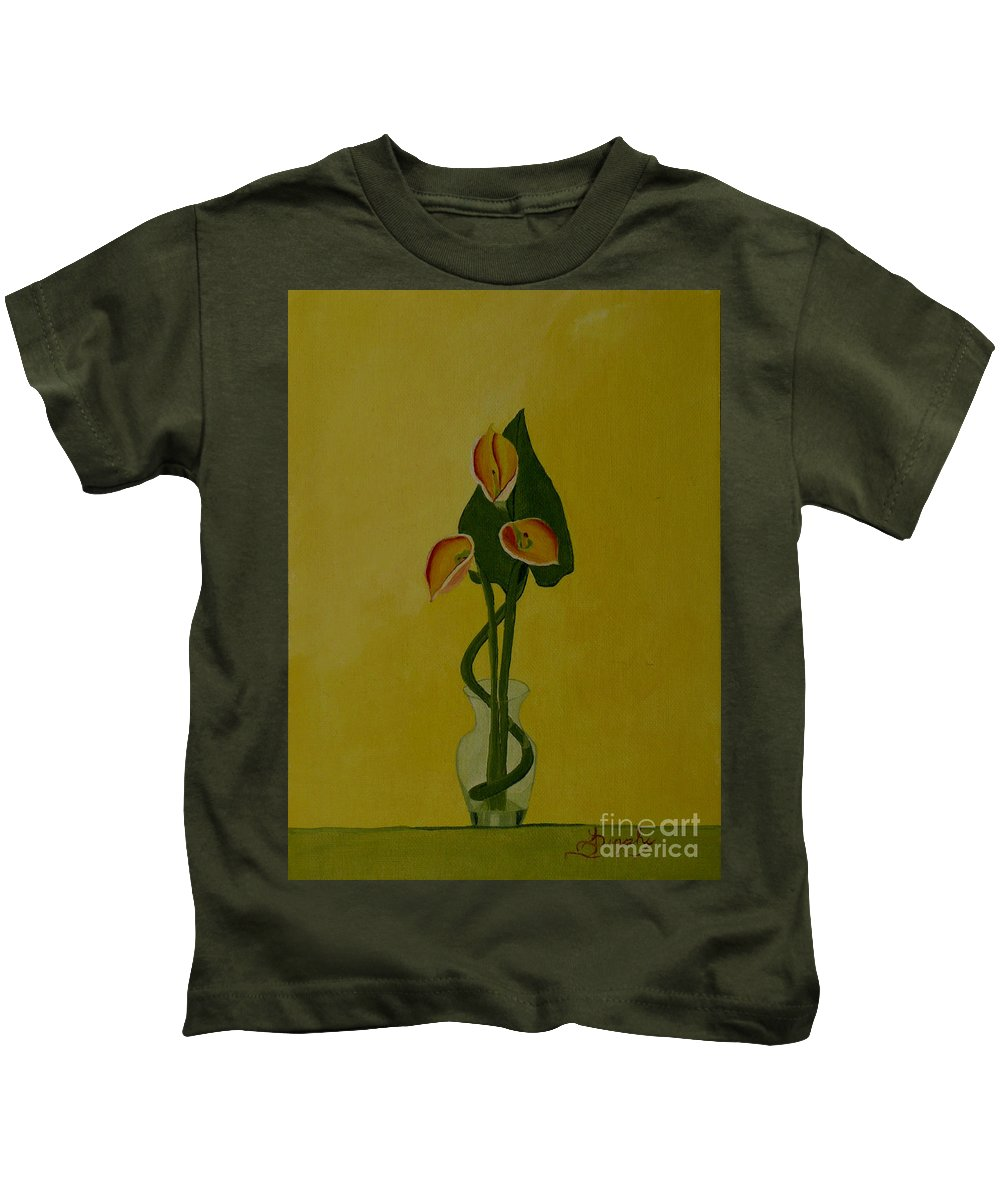 Japan Kids T-Shirt featuring the painting Japanese Ikebana Arrangement by Anthony Dunphy