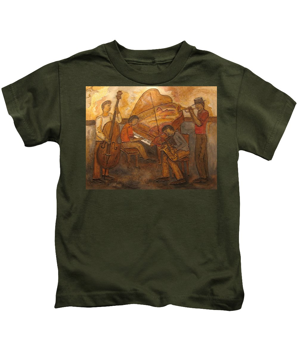 Impressionist Kids T-Shirt featuring the painting Jazz Quartet by Anita Burgermeister