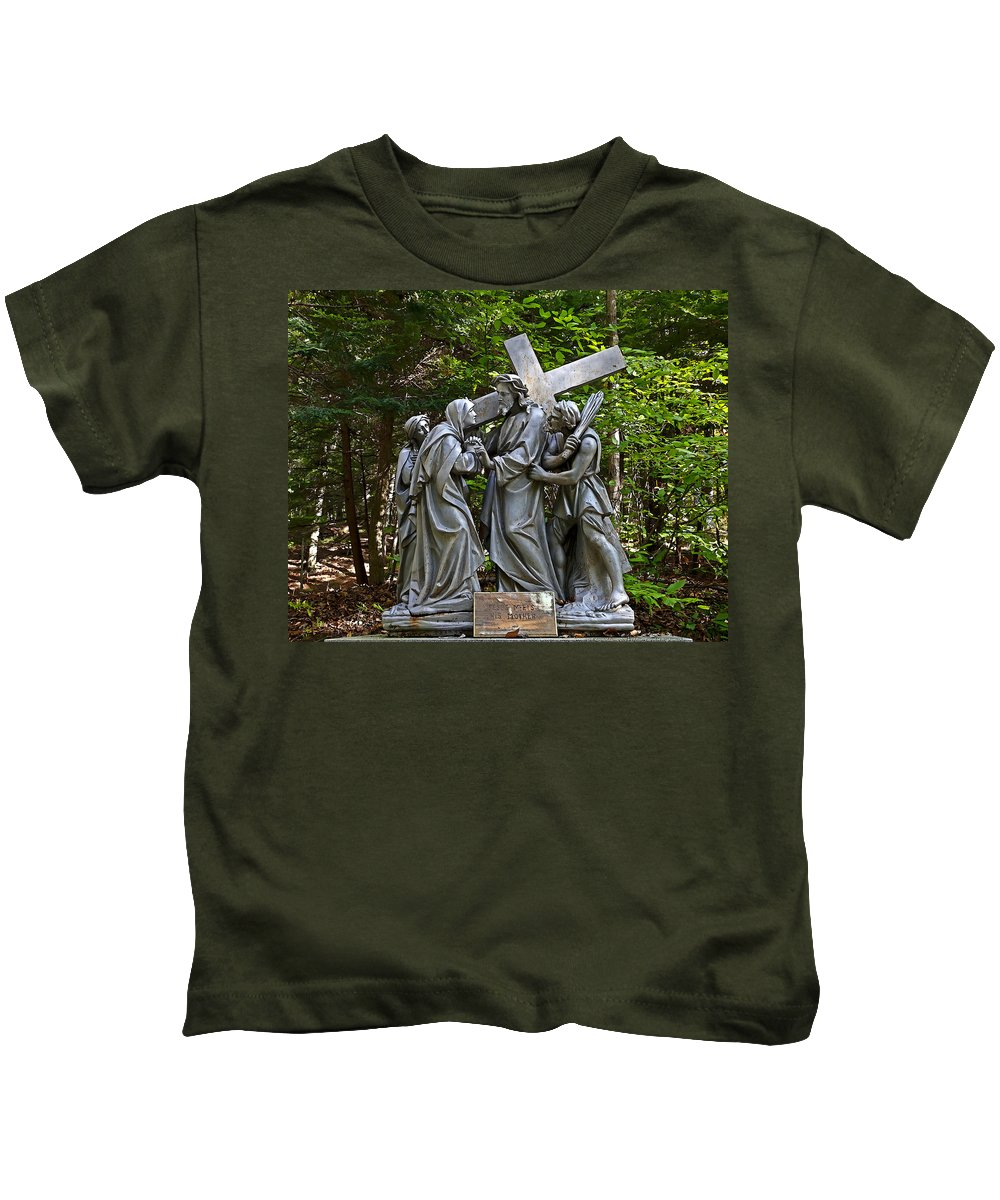 Angel Kids T-Shirt featuring the photograph Jesus Meets His Mother by Terry Reynoldson