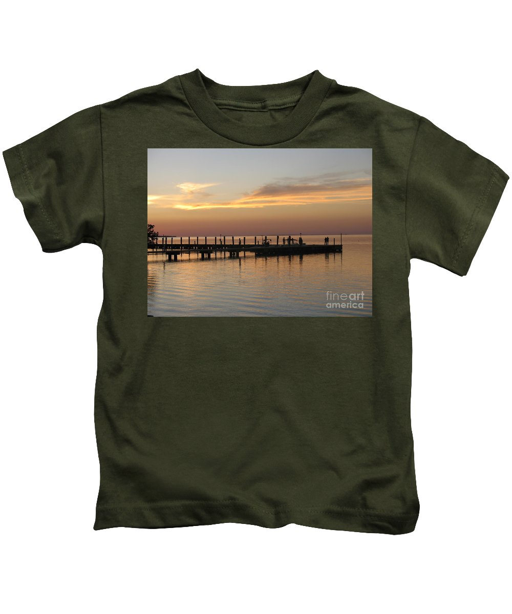 Evening Kids T-Shirt featuring the photograph Jetty In The Eveninglight by Christiane Schulze Art And Photography