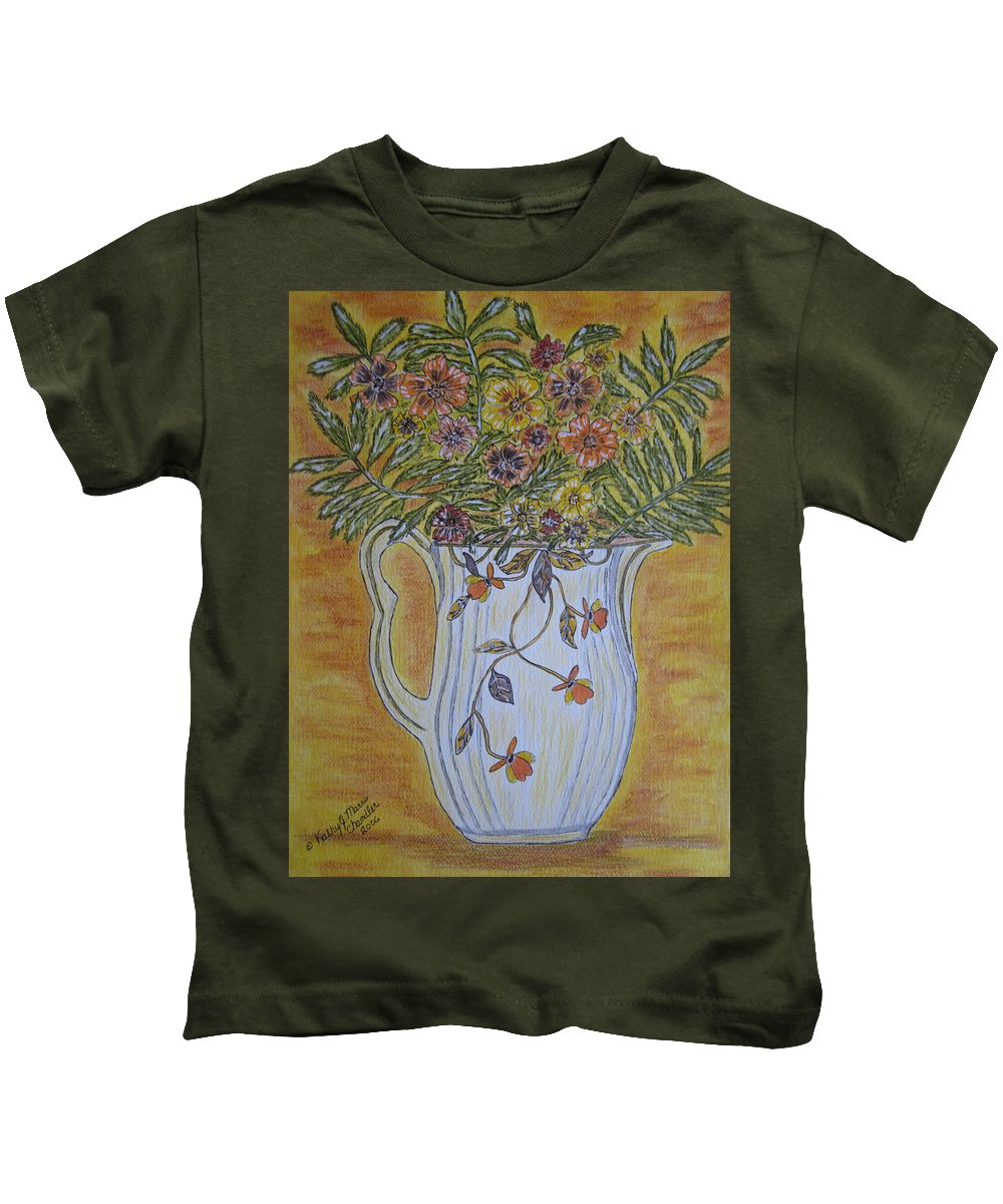 Jewel Tea Kids T-Shirt featuring the painting Jewel Tea Pitcher With Marigolds by Kathy Marrs Chandler
