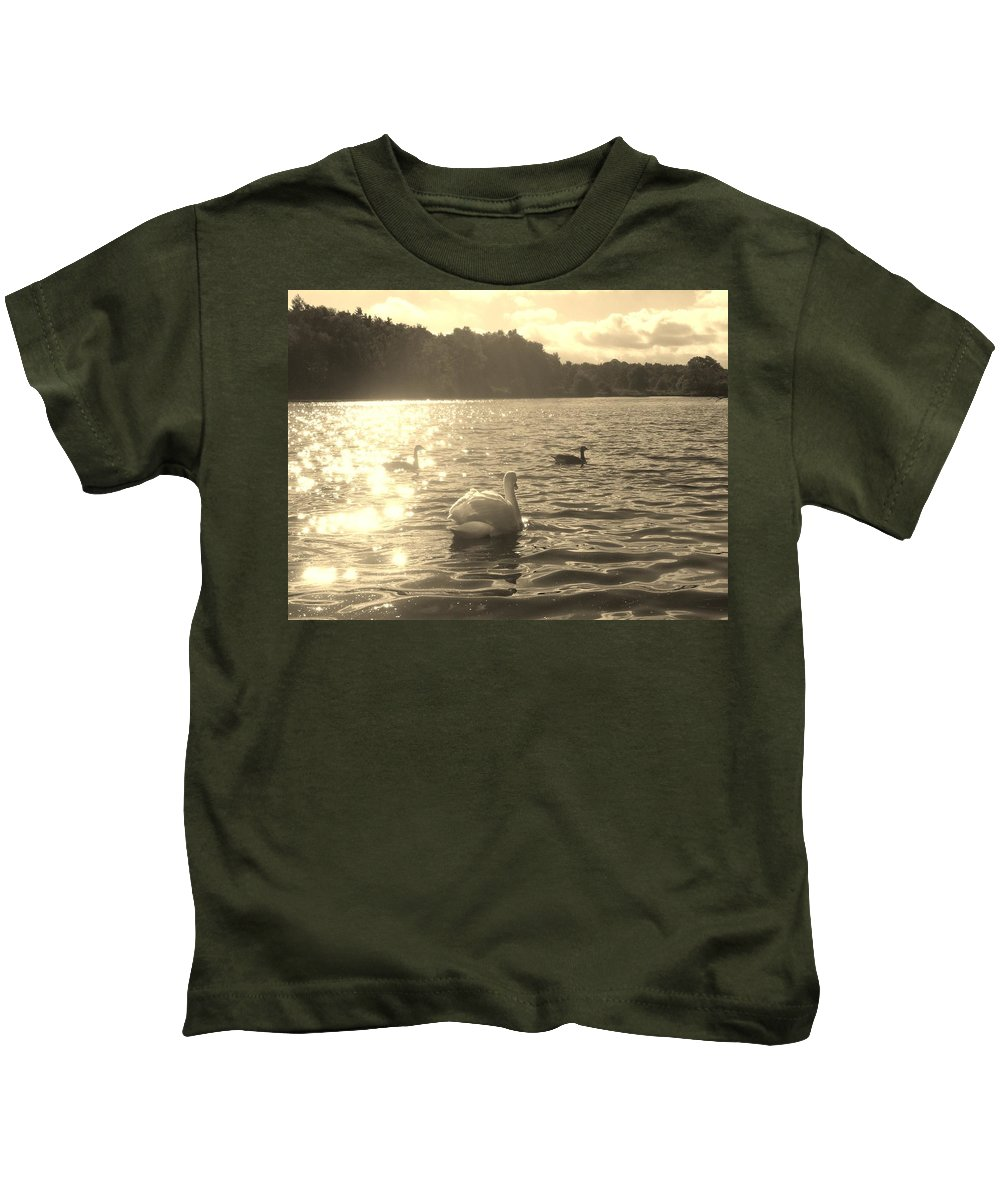 Swans Kids T-Shirt featuring the photograph Jewels Of The Lake by Asa Jones