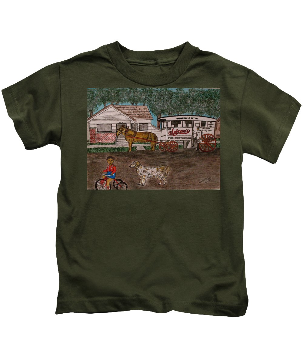 Johnson Creamery Kids T-Shirt featuring the painting Johnsons Milk Wagon Pulled By A Horse by Kathy Marrs Chandler