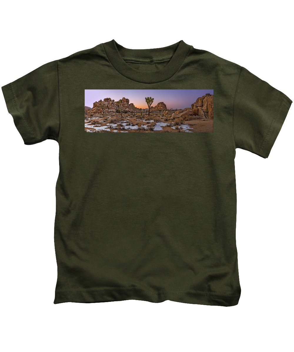 Joshua Tree Kids T-Shirt featuring the photograph Joshua Tree Dusk Panorama by Kelley King