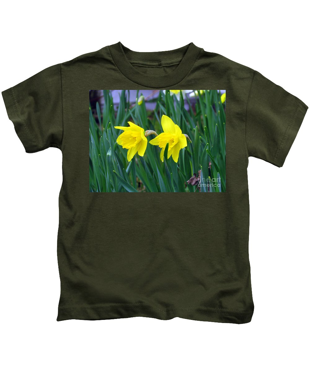 Jonquil Kids T-Shirt featuring the photograph Jovial Jonquils by Elizabeth Dow