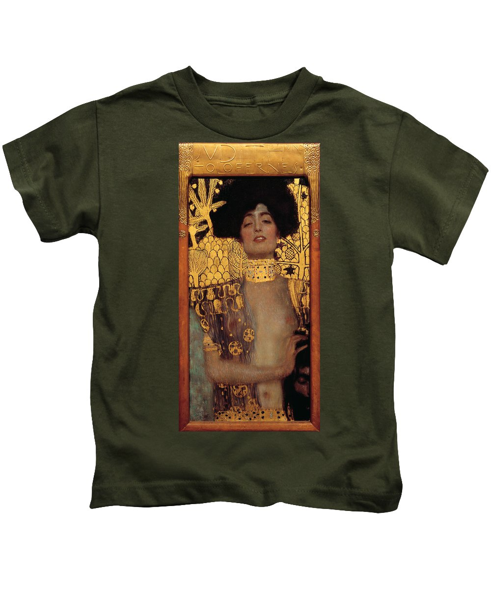 Gustav Klimt Kids T-Shirt featuring the painting Judith And The Head Of Holofernes - Judith I by Masterpieces Of Art Gallery