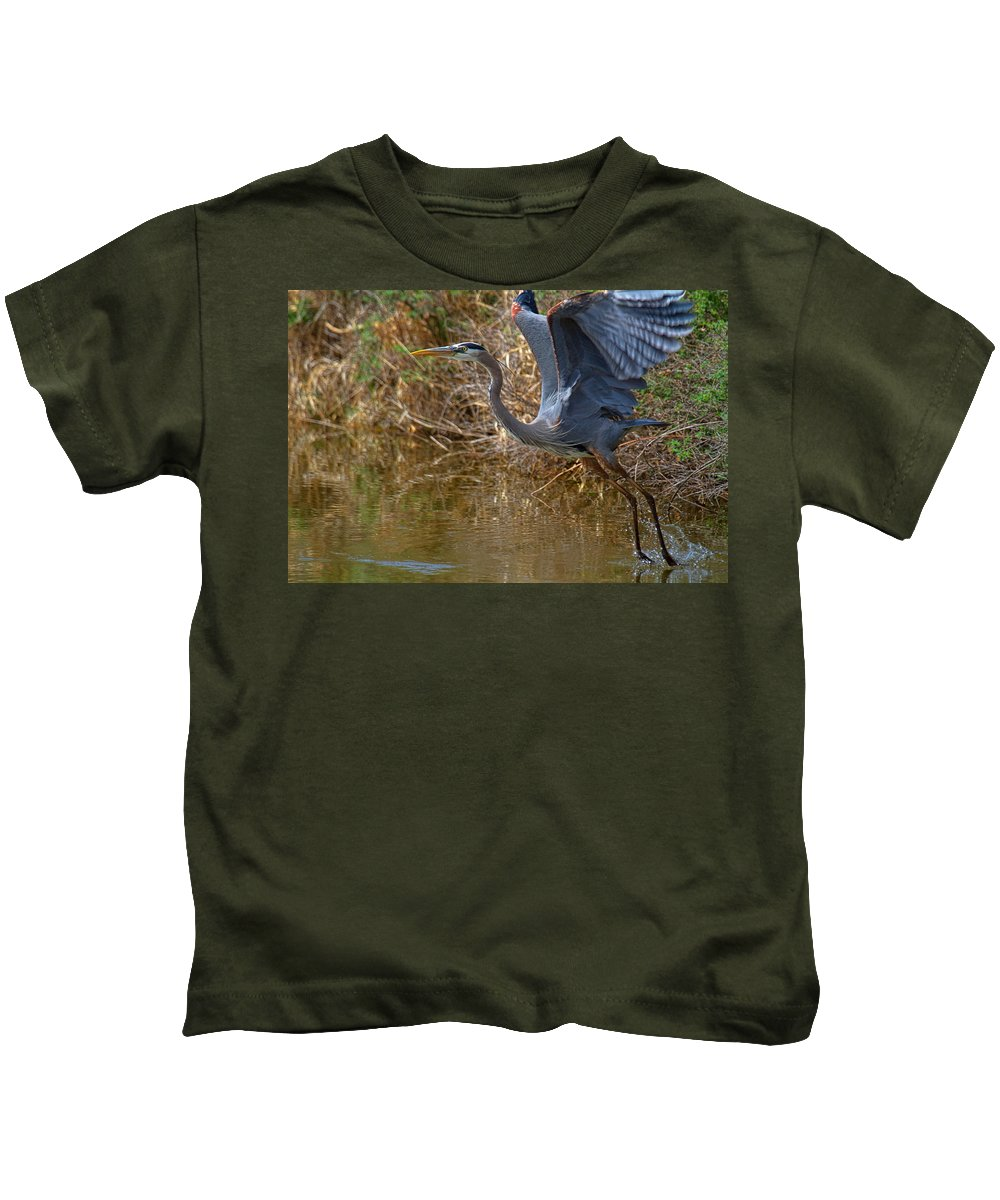 Blue Heron Photograph Kids T-Shirt featuring the photograph Jump Start by Jim Garrison