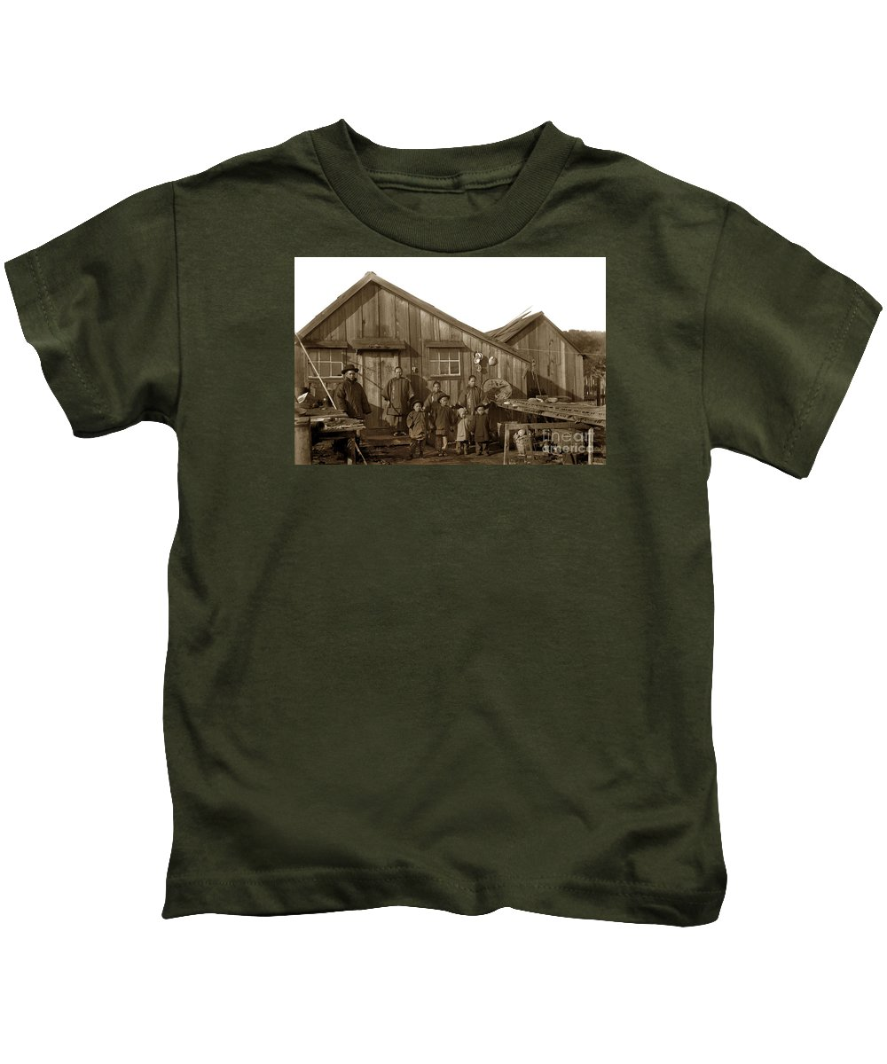 Jung San Choy Kids T-Shirt featuring the photograph Jung San Choy And Chinese Family Pescadero Village Pebble Beach California Circa 1895 by California Views Archives Mr Pat Hathaway Archives