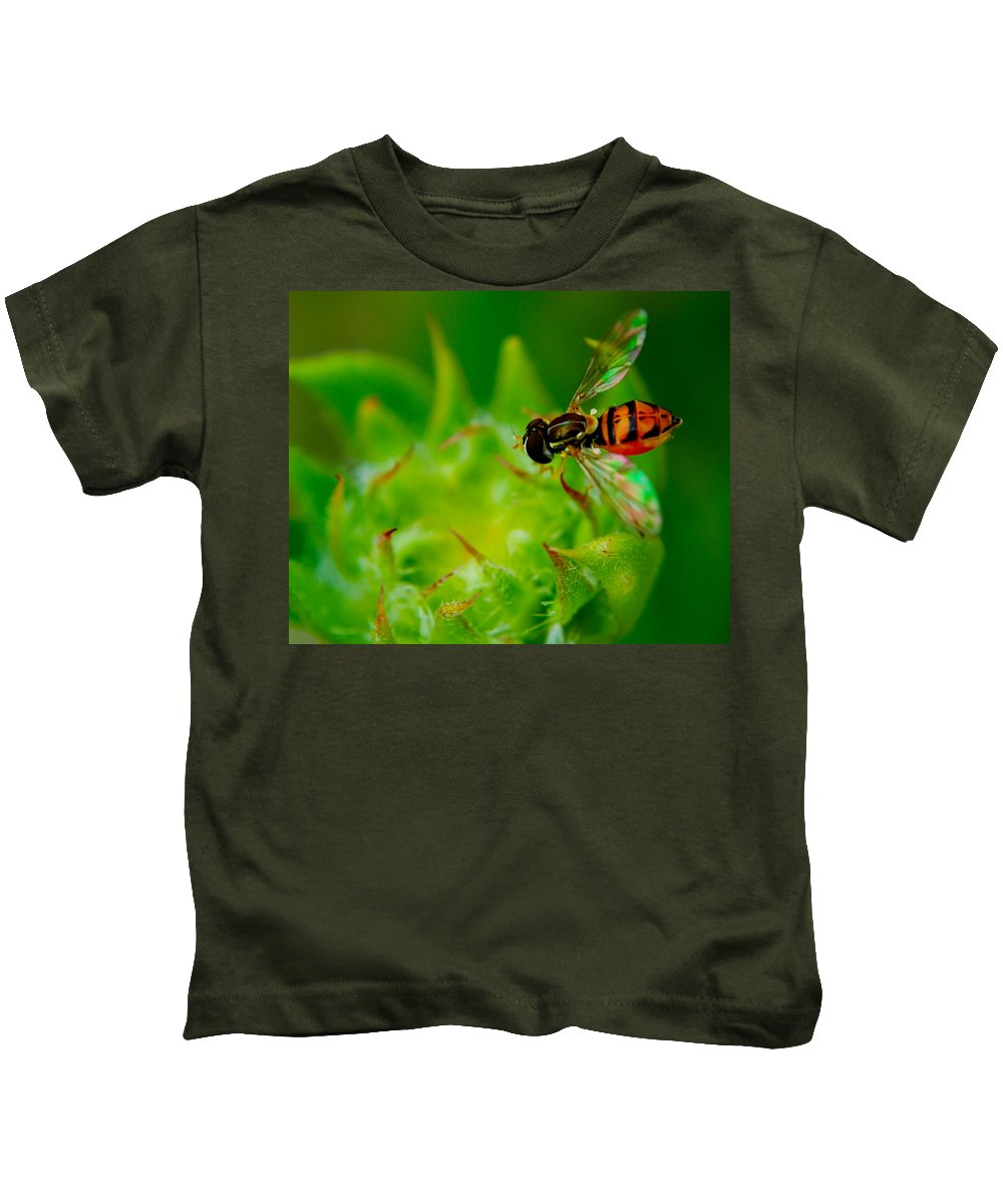 Bee Kids T-Shirt featuring the photograph Just Beecause by Frozen in Time Fine Art Photography