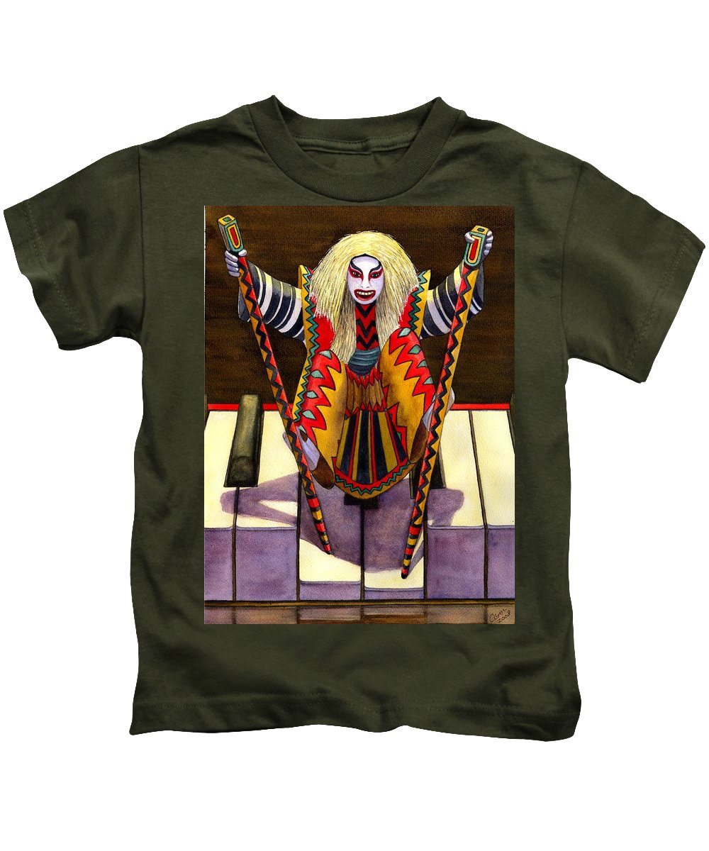 Kabuki Kids T-Shirt featuring the painting Kabuki Chopsticks 1 by Catherine G McElroy