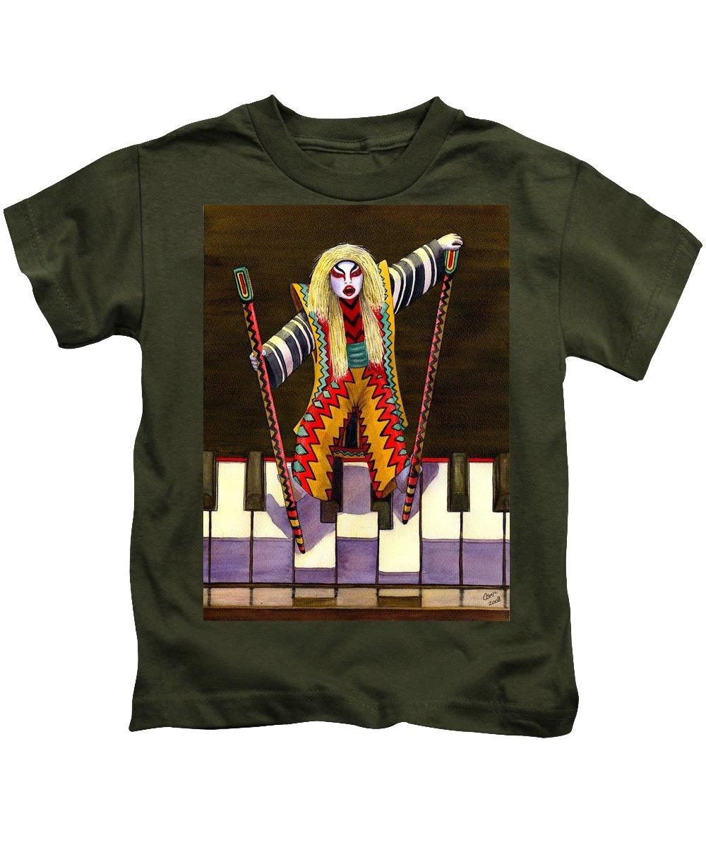 Kabuki Kids T-Shirt featuring the painting Kabuki Chopsticks 2 by Catherine G McElroy