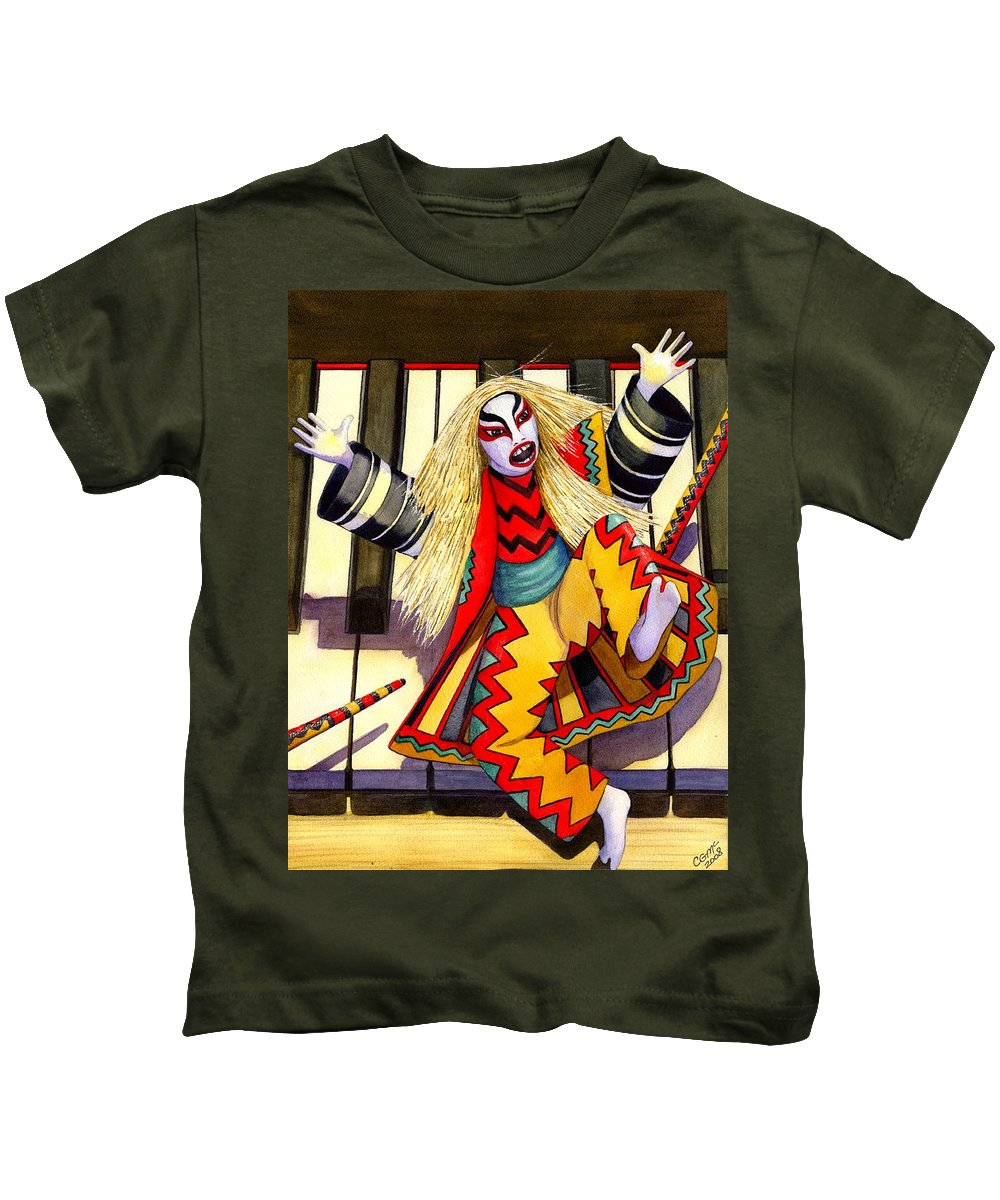 Kabuki Kids T-Shirt featuring the painting Kabuki Chopsticks 3 by Catherine G McElroy