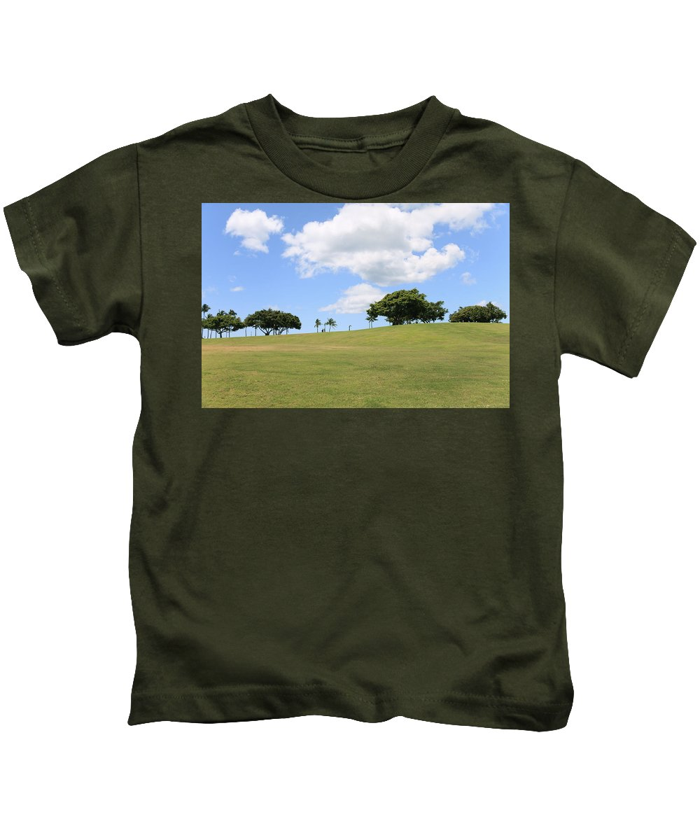 Brandon Tabiolo Kids T-Shirt featuring the photograph Kakaako Park by Brandon Tabiolo