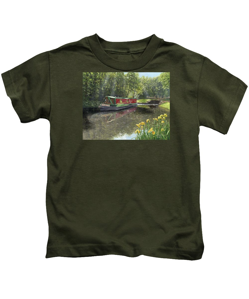 Landscape Kids T-Shirt featuring the painting Kathleen May Chesterfield Canal Nottinghamshire by Richard Harpum