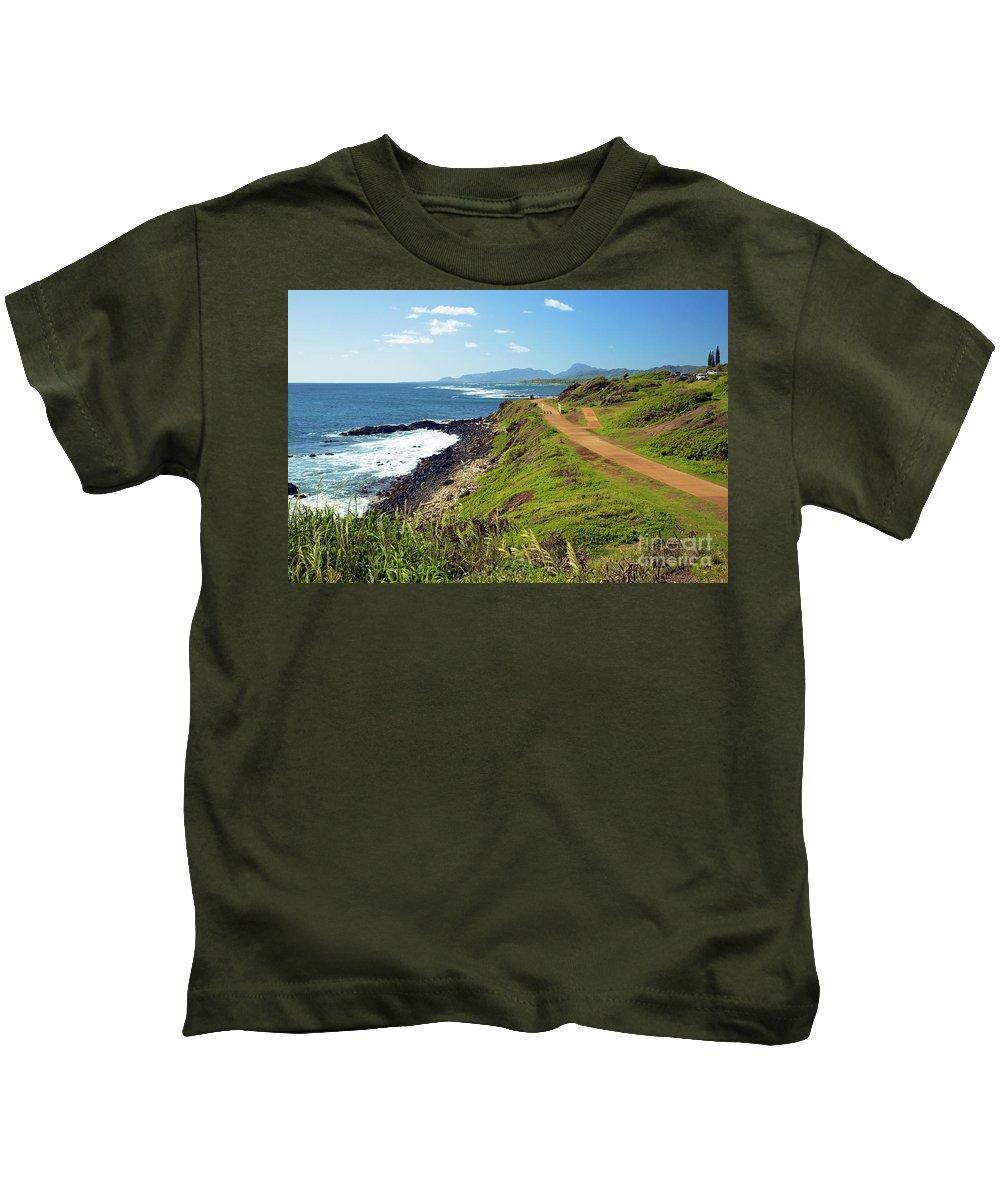 Alongside Kids T-Shirt featuring the photograph Kauai Coast by Kicka Witte