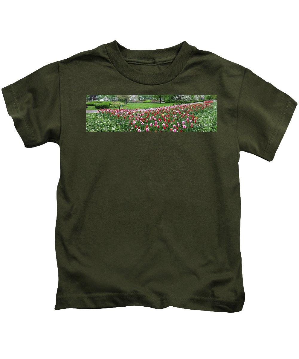 Keukenhof Gardens Kids T-Shirt featuring the photograph Keukenhof Gardens Panoramic 49 by Mike Nellums