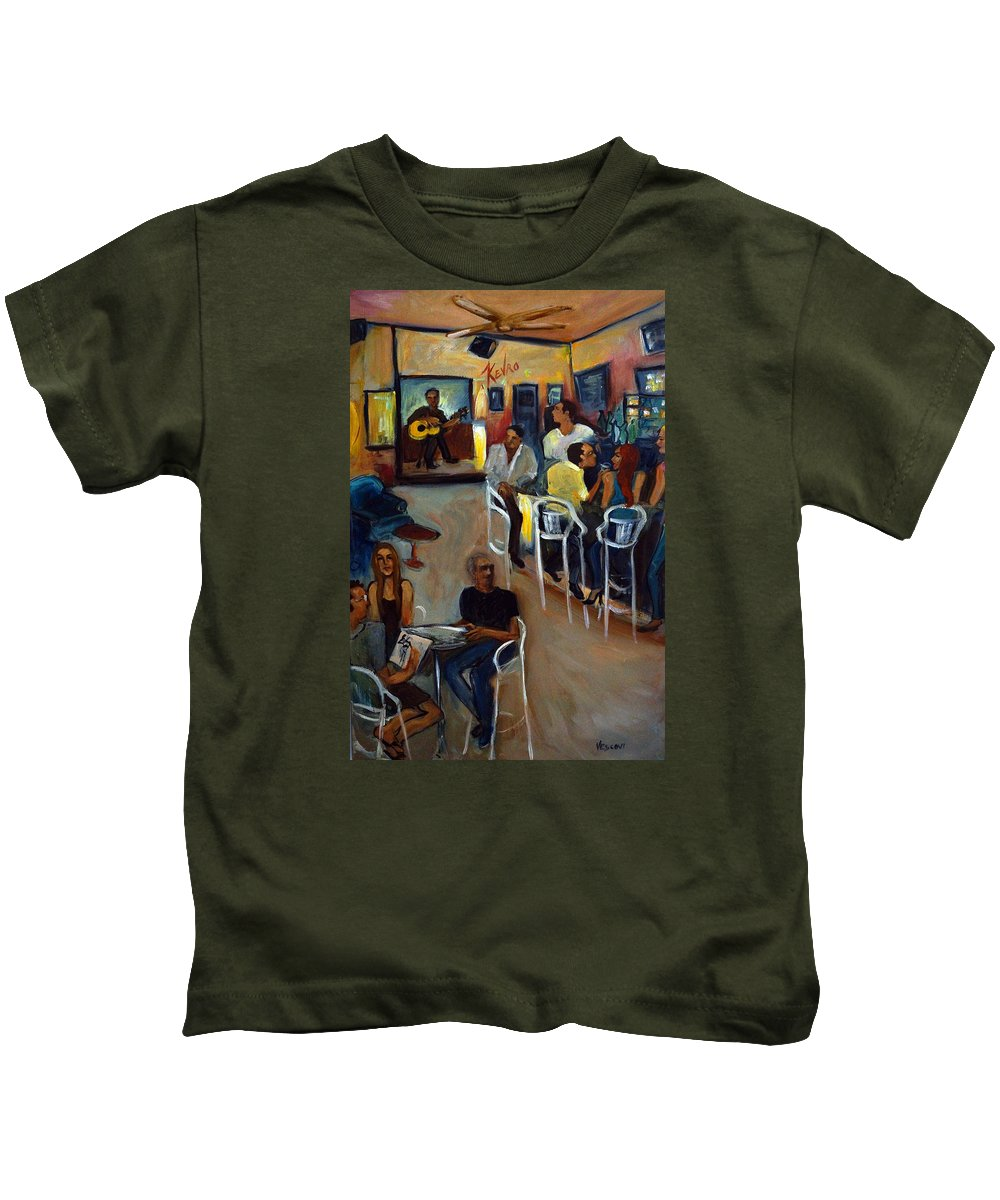 Art Bar Kids T-Shirt featuring the painting Kevro's Art Bar by Valerie Vescovi