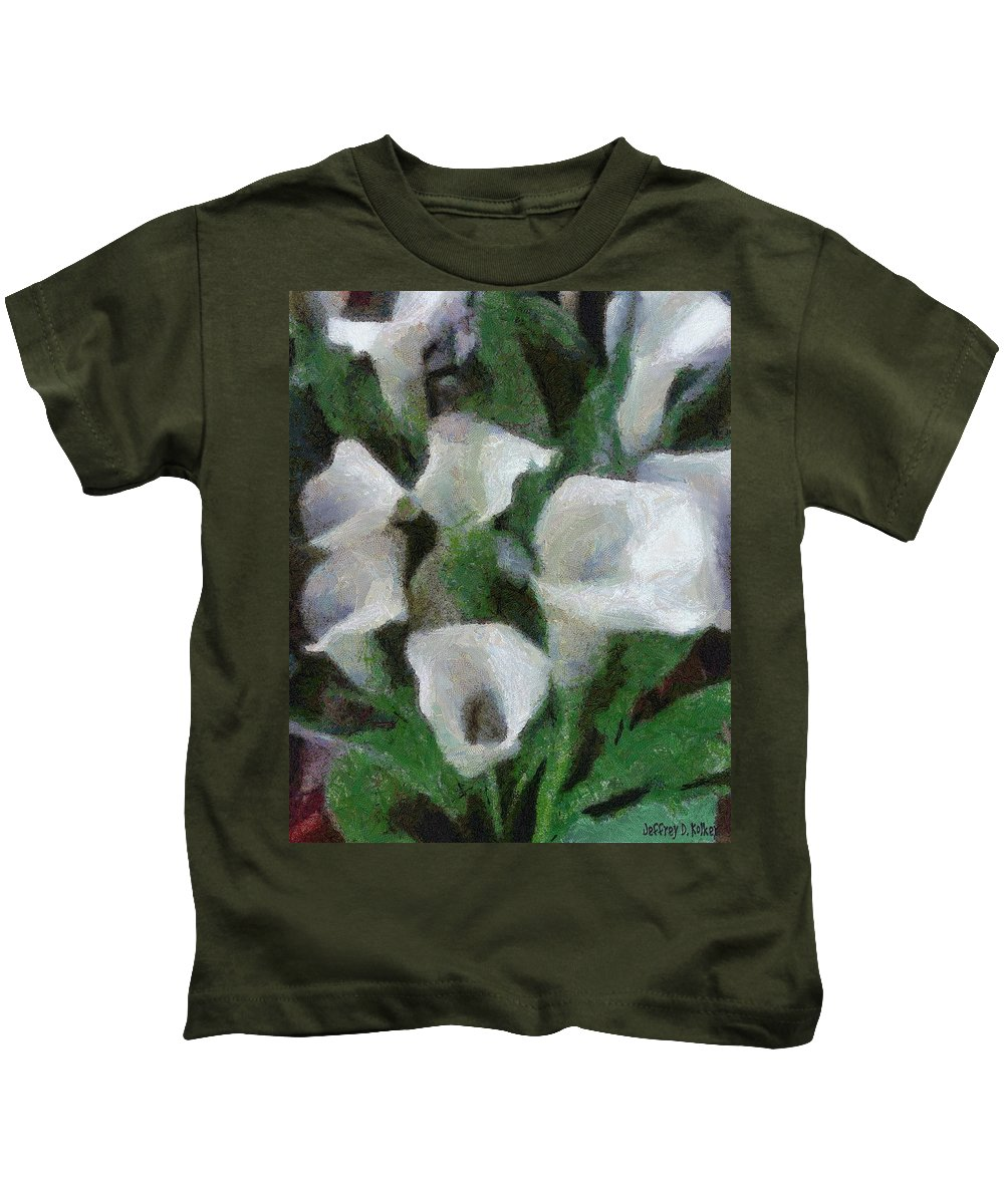 Bloom Kids T-Shirt featuring the painting Kim's Flowers by Jeffrey Kolker