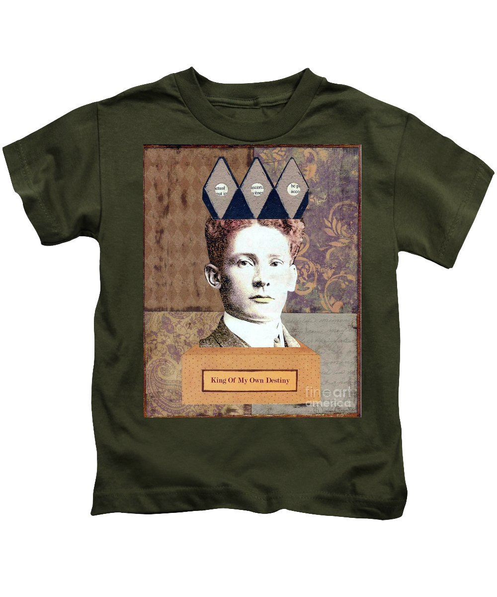 Brown Kids T-Shirt featuring the mixed media King Of My Own Destiny by Desiree Paquette