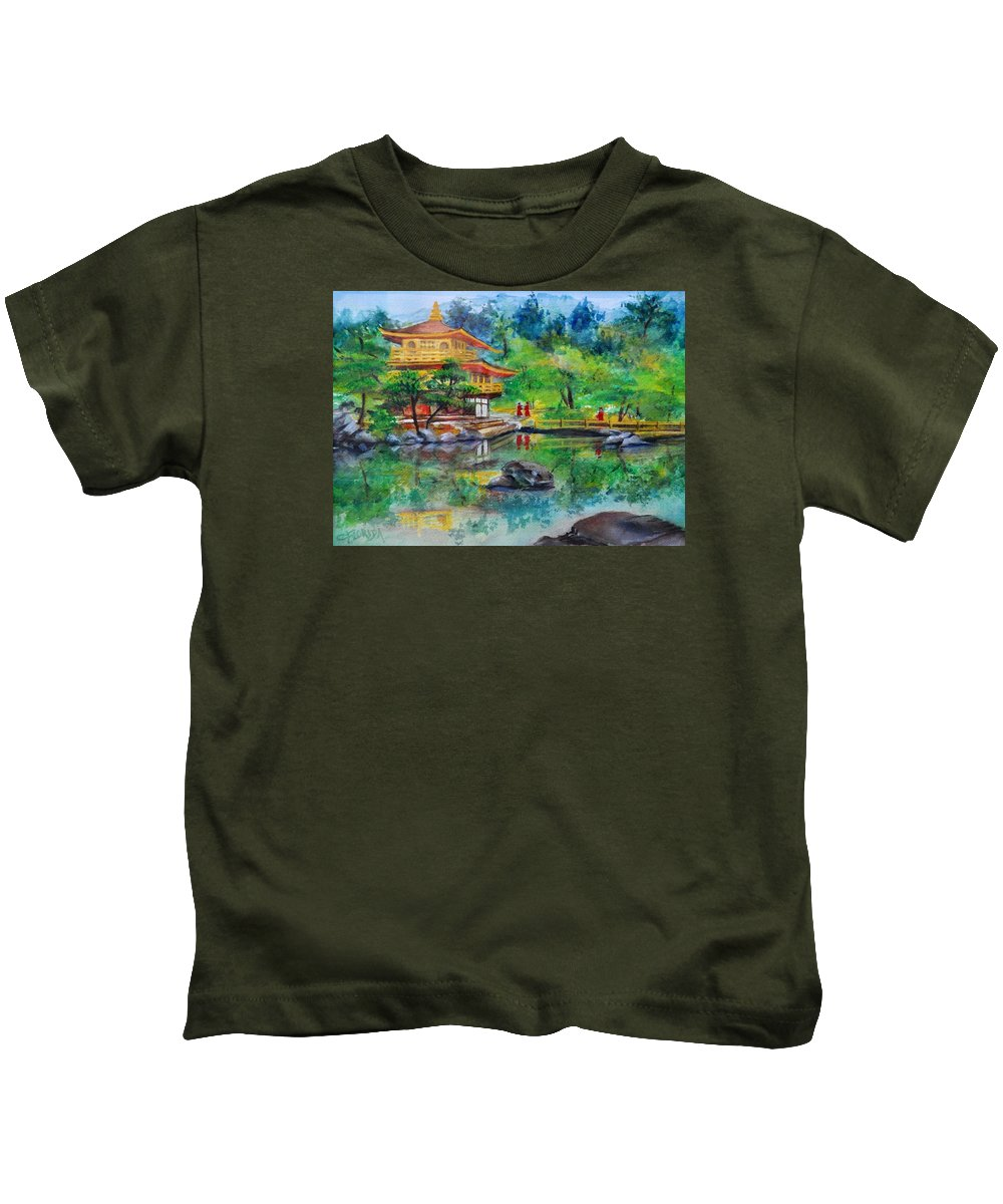 Landscape Kids T-Shirt featuring the painting Kinkakuji by Csilla Florida