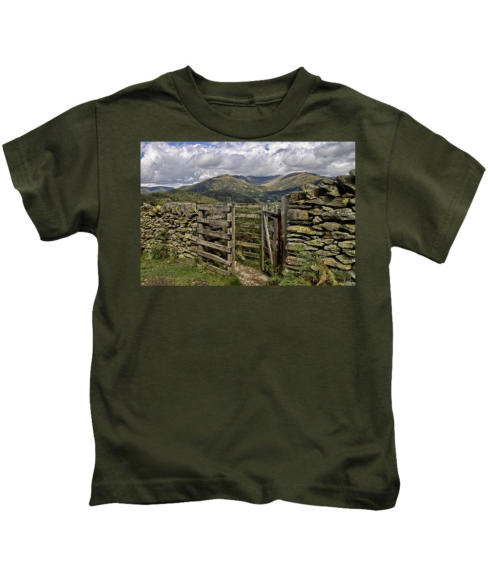Ambleside Kids T-Shirt featuring the photograph Kissing Gate by Roger Green