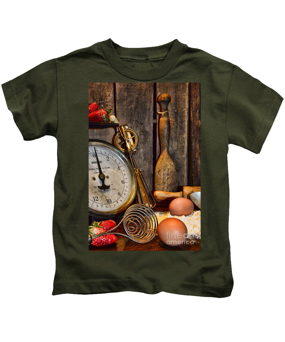 Paul Ward Kids T-Shirt featuring the photograph Kitchen - Baking A Strawberry Pie by Paul Ward