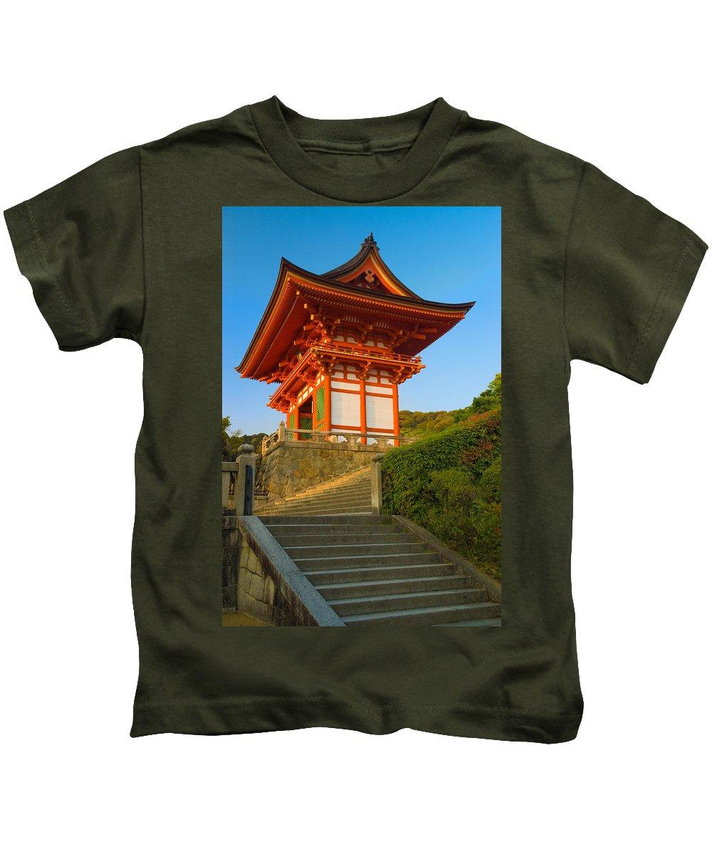 Pagoda Kids T-Shirt featuring the photograph Kiyomizudera Temple by Sebastian Musial