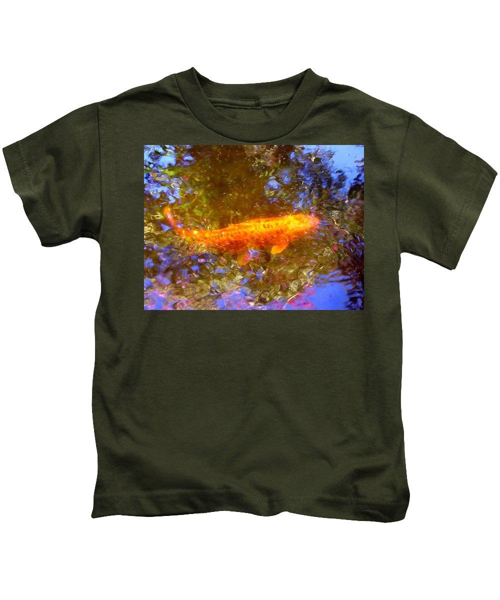 Animal Kids T-Shirt featuring the painting Koi Fish 2 by Amy Vangsgard