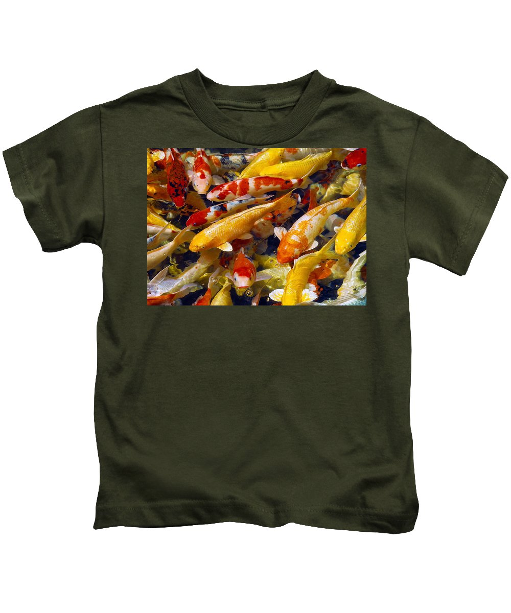Koi Kids T-Shirt featuring the photograph Koi Pond 2 by Marie Hicks