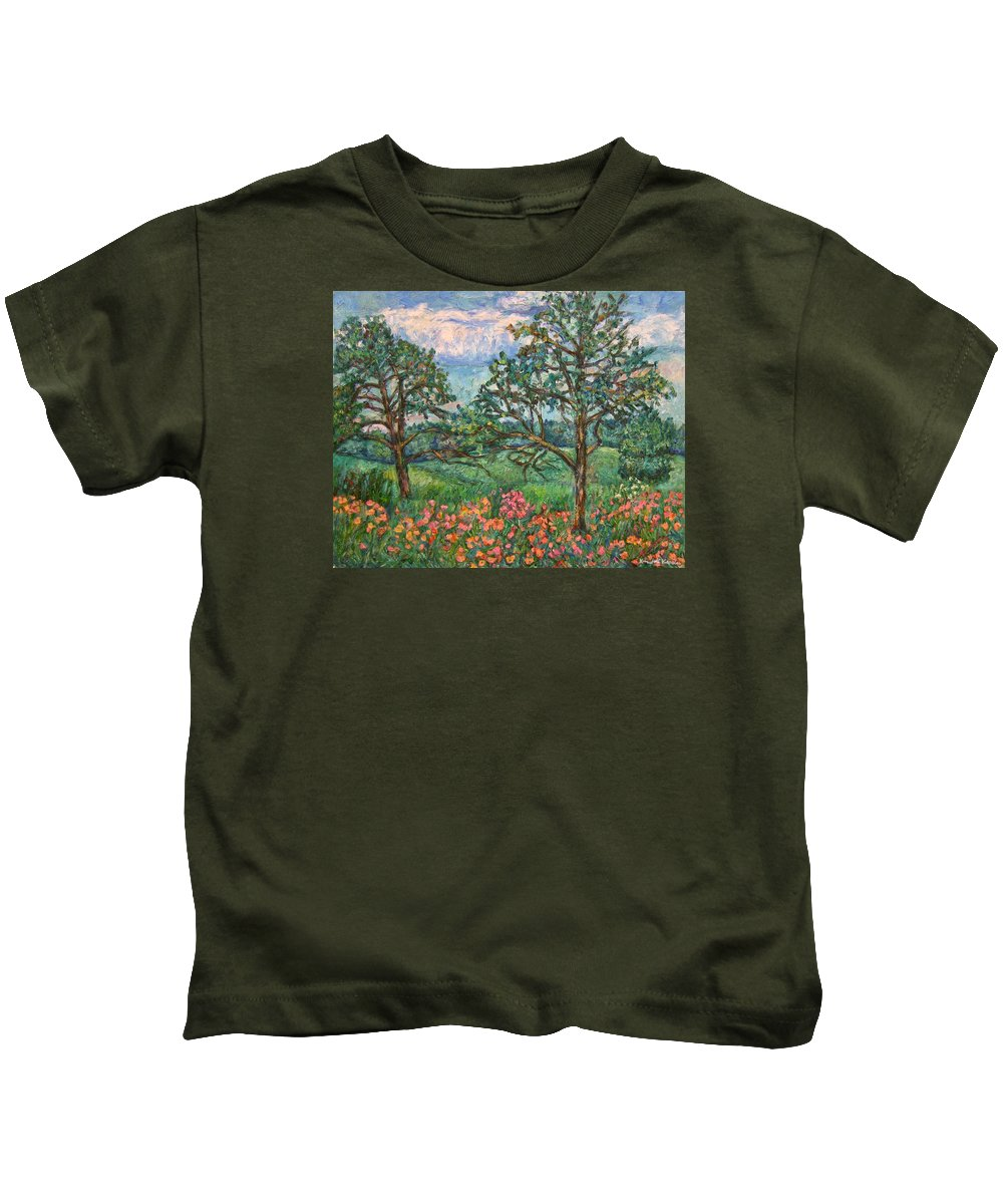 Landscape Kids T-Shirt featuring the painting Kraft Avenue In Blacksburg by Kendall Kessler
