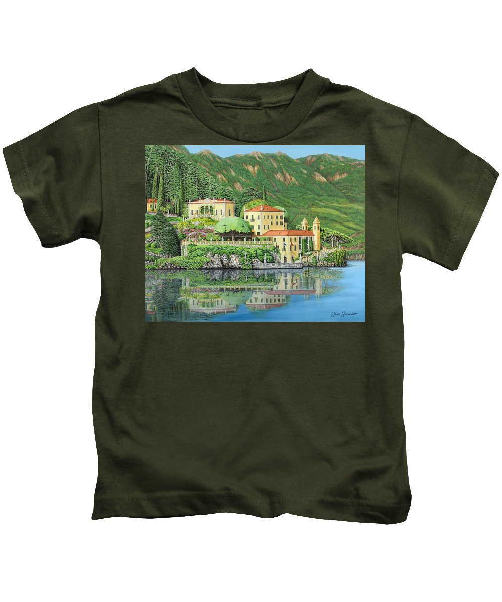 Lake Kids T-Shirt featuring the painting Lake Como Morning by Jane Girardot