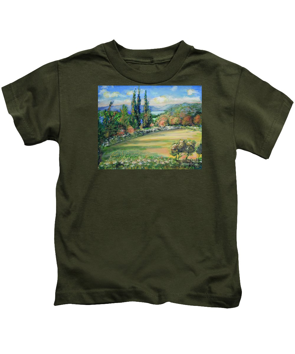 Oil Painting On Canvas Kids T-Shirt featuring the painting Landscape From Kavran by Raija Merila