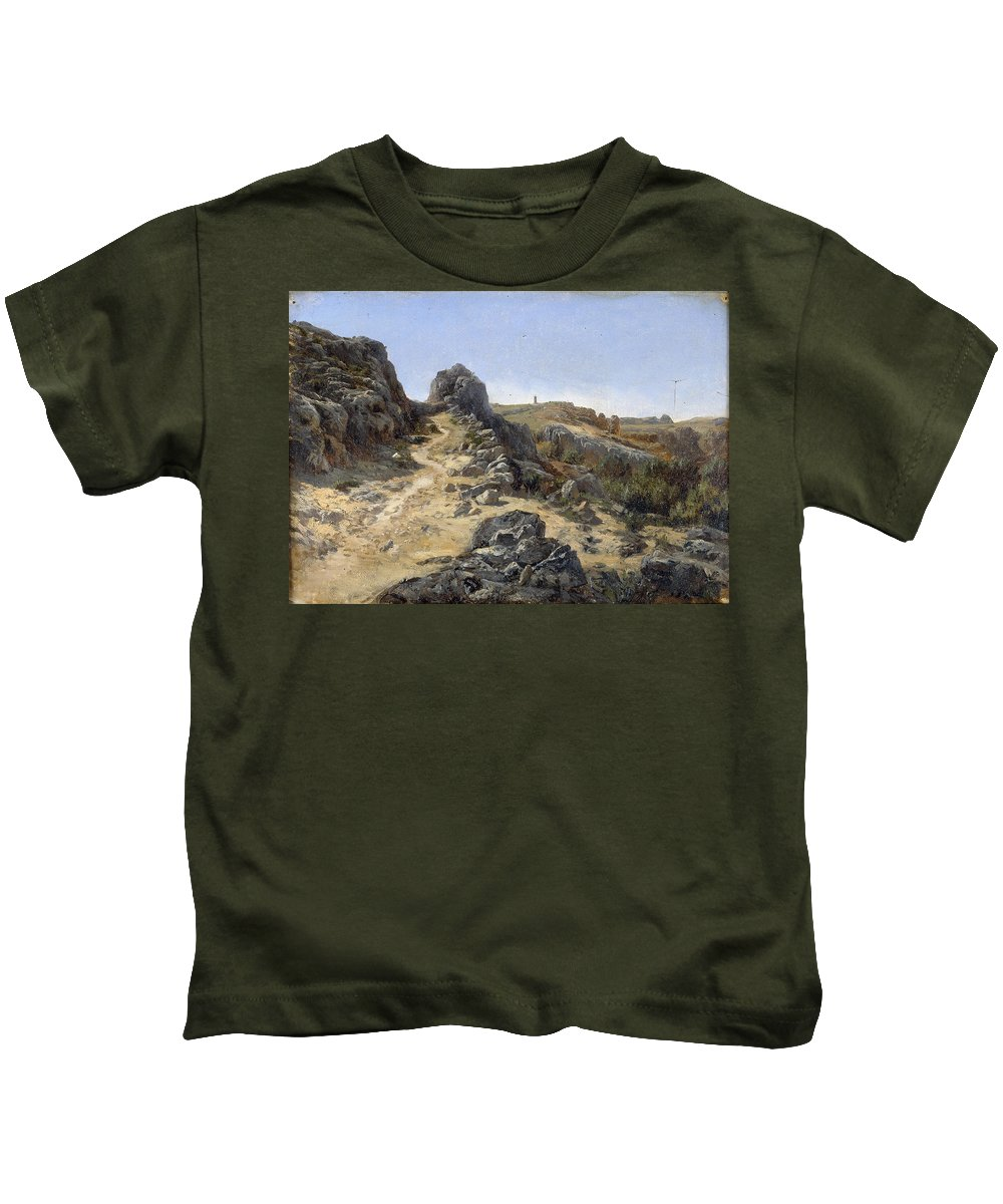 Carlos De Haes Kids T-Shirt featuring the painting Landscape Near The Monastery Piedra by Carlos de Haes