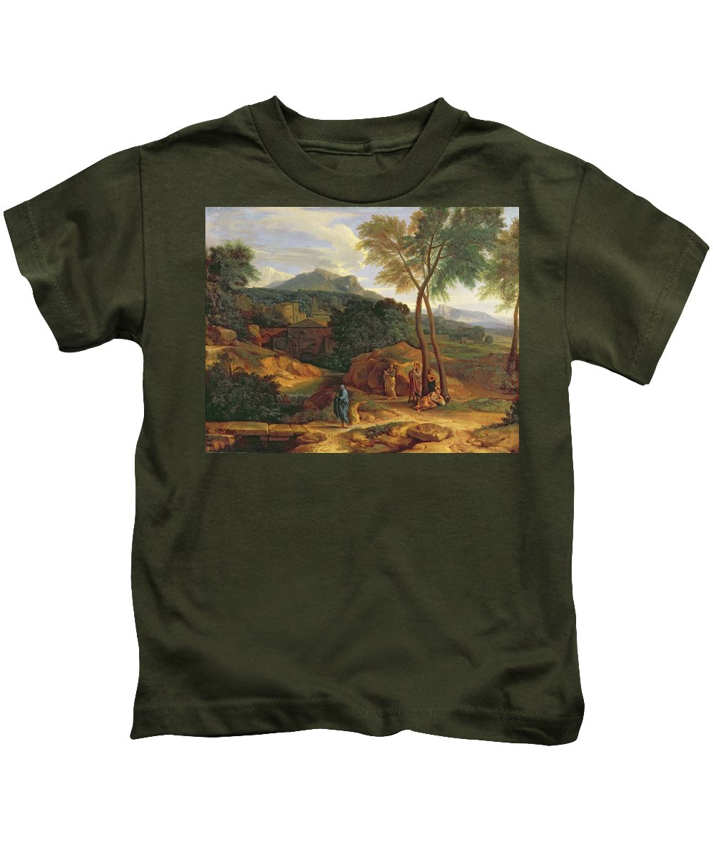 General Phocion Kids T-Shirt featuring the painting Landscape With Conopion Carrying by Jean Francois I Millet