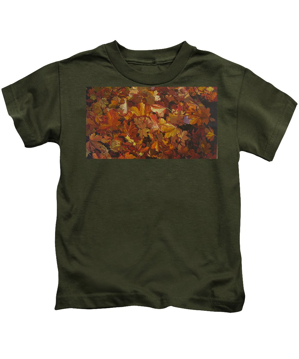 Fall Kids T-Shirt featuring the painting Last Fall In Monroe by Thu Nguyen